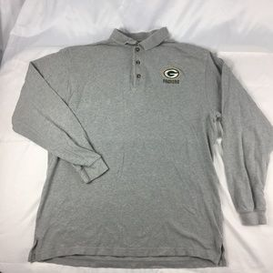 Green Bay Packers Mens Large Polo Grey Embroidered